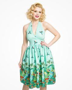 'Marilyn' Green Jungle Border Print Halterneck Swing Dress - New In Tropical Dress, Jungle Print, Border Print, Vintage Models, Swing Dress, New Dress, Fashion Models, Textiles, Plus Size