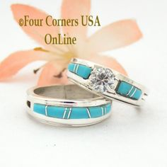 Four Corners USA Online - Size 6 Turquoise Engagement Bridal Wedding Ring Set Native American Wilbert Muskett Jr WS-1523, $240.00 (http://stores.fourcornersusaonline.com/size-6-turquoise-engagement-bridal-wedding-ring-set-native-american-wilbert-muskett-jr-ws-1523/)