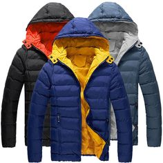 Sale 27% (34.28$) - Mens Winter Cotton Padded Puffer Jacket Color Splicing Hooded Coat