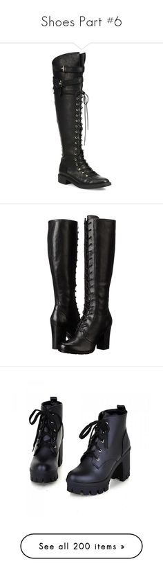 """Shoes Part #6"" by jakela778 ❤ liked on Polyvore featuring shoes, boots, black, leather knee high boots, military combat boots, tall leather boots, tall combat boots, black boots, heels and knee-high boots"