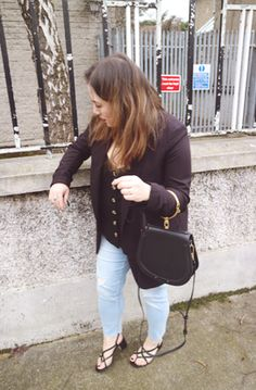 Primark jeans, Topshop Blazer, New Look button detail cami, H&M strappy sandals, Black Chloe Nile Handbag Balenciaga, Givenchy, Valentino, Fendi, Gucci, Show Photos, Strappy Sandals, Miu Miu