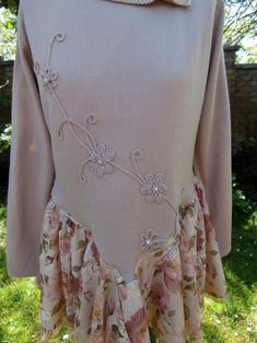 CLEARANCE SALE Upcycled Sweater Dress 'Tea Rose' Uk | Etsy Crochet Turtle, Tea Roses, Roll Neck, Ruffle Skirt, Black Knit, Embroidered Flowers, Pink Lace, Upcycled Sweater, Clearance Sale
