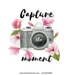Capture the moment. Watercolor vintage photo camera and magnolia flowers with lettering. Hand drawn photographer logo.