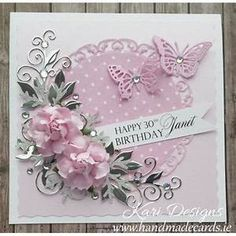 Beautiful Handmade Birthday Card in pink, white and silver ...
