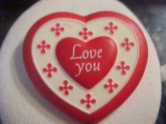 Vintage Valentine Heart- Plastic-approx 2 x 2 #Unbranded