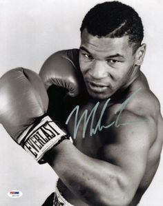 Mike Tyson Boxing Signed Authentic 11X14 B&W Photo Autographed PSA/DNA ITP 1