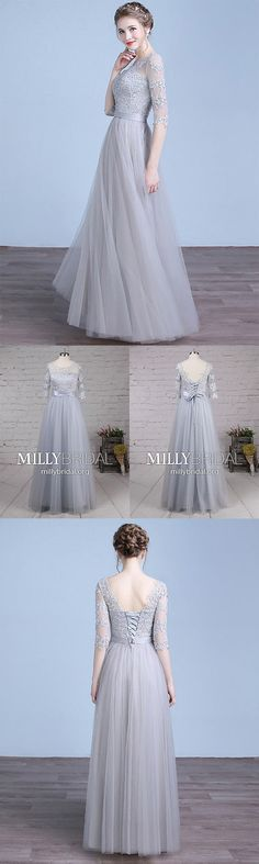 Long Prom Dresses with Sleeves,Silver Formal Evening Dresses A-line,Modest Military Ball Dresses Lace,Simple Wedding Party Dresses For Cheap Plus Size Formal Dresses, Formal Dresses For Teens, Formal Evening Dresses, Prom Dresses With Sleeves, Bridesmaid Dresses, Military Ball Dresses, Silver Dress, Wedding Party Dresses, Dress Collection