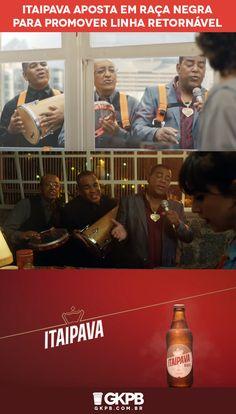 """Em novos comerciais, Itaipava apostou no sucesso """"É tarde demais"""" do Raça Negra para promover sua linha de garrafas de cerveja retornáveis."""