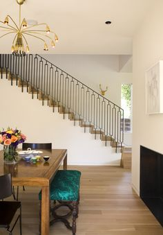 Caroline Edwards - Interior Designer - Aspen - Contemporary - Eclectic - Staircase - Dining Room - Neutrals - Wood Furniture - Upholstered Bench - Gold - Chandelier