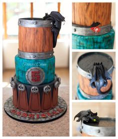How To Train Your Dragon Cake - 3 tier rich chocolate cake with whipped ganache filling. Top tier - inspired by a wooden barrel mug design with Toothless peering inside. Water look achieved with piping gel. Toothless crafted out of modeling chocolate. Middle tier - inspired by Stormfly's dragon skin. Bottom tier - inspired by Astrid's leather & bird skull skirt. Board - cobblestone effect. **Princess Crème original design. https://www.facebook.com/princesscreme #cake #HTTYD…