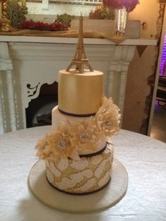 Gold Paris Themed Wedding Cake By NancysCakesandBeyond on CakeCentral.com