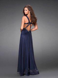 A-Line/Princess V-neck Floor-Length Chiffon Dress With Rhinestone And Pleats