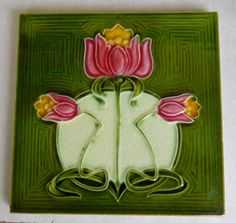 Tile reference 379 in the book Art Nouveau Tiles with Style, made by Alfred Meakin c1906