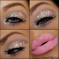 Pink eyeshadow and glitter! LOVE!
