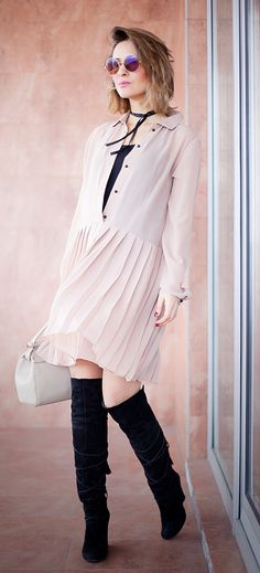 nude dress | ootd | street style | outfit ideas | fashion blogger | fashion blog | over the knee boots | coccinelle bag | cutler and gross sunglasses