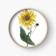 'Sunflower tshirt helianthus botantical print' Clock by Modern Prints, Art Prints, Quartz Clock Mechanism, Free Stickers, Hand Coloring, Clocks, My Arts, Printed, Awesome