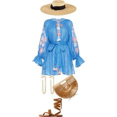 Italy OOTD inspo by rukigaruba on Polyvore featuring MANGO, Cult Gaia, Jennifer Fisher and San Diego Hat Co.