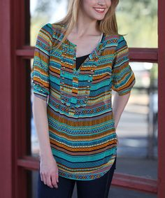 Blue & Yellow Tribal Stripe Stud Notch Neck Top