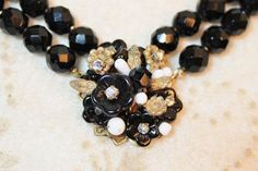 Miriam Haskell Jet Black Glass Bead Turtle Clasp Necklace Earrings