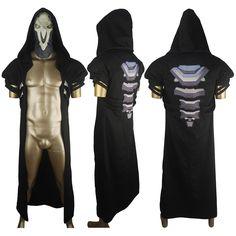 Video Game Overwatch Reaper Uniform Trench Coat Jacket Halloween Cosplay Costume