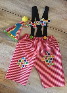 Boys Circus Carnival Stripes and Polka Dot Cake Smash Outfit Pants Set with Suspenders, Party Hat, and Bow Tie First Birthday