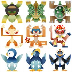 PokeMonster+Hunter+Gen+4+Starters+by+Gryphon-Shifter.deviantart.com+on+@DeviantArt