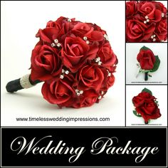 Red Rose Wedding Bouquet | Red Rose Package Bridal Bling Real Touch Silk Wedding Flowers ...