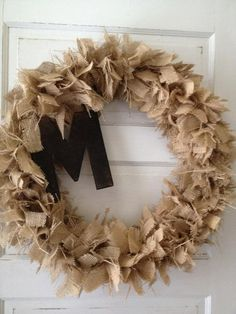 Burlap Rag Wreath with Initial by CSHomeTownGirl on Etsy, $55.00