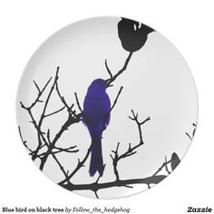 Blue bird on black tree melamine plate Find out other colors and versions.