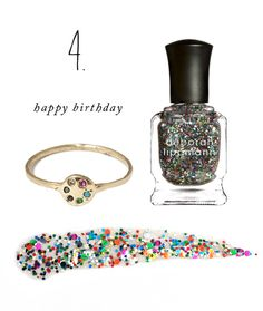 Color Story: Happy Birthday. Sparkle confetti on your finger nails and six stones set in a circle on your finger.