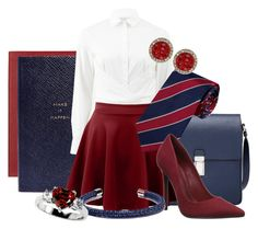 """""""Private School"""" by animositykate ❤ liked on Polyvore featuring Prada, Smythson, Lela Rose, LE3NO, Schutz, Tommy Hilfiger and Rachel Rachel Roy"""