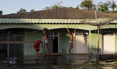 Children walk at their house in a street flooded by the rising Rio Solimoes, one of the two main branches of the Amazon River, in Anama, Amazonas state, Brazil June 3, 2015. REUTERS/Bruno Kelly