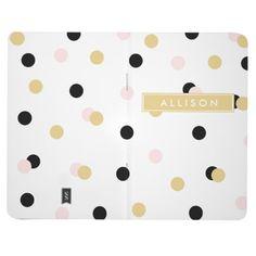 Black Pink and Gold Polka Dot Monogram Journal | coffeecatdesigns