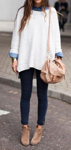 new winter outfits 2017 fashion trends - style you 7 Denim on denim and soft cozy knits