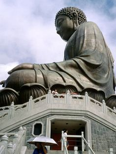 Giant Buddha in Hong Kong. When I went it was so foggy you couldn't really see the top of his head.