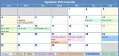 September 2016 Calendar with US Holidays Free, September 2016 Printable Calendar Cute Word Excel PDF Template Download Monthly, September 2016 Blank Calendar Weekly