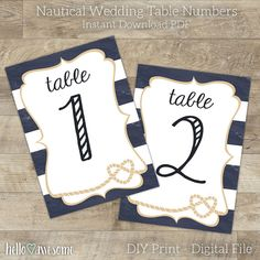 Wedding Table Numbers  Nautical Wedding  by helloawesomedesign