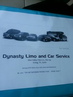 Dynasty limo service and town car services to airport and city or sports and special events such as prom wedding any occasion. We will have great quality of service and comfortable car and limo service in your area and near you and your business and look forward to hearing from you soon visit www.dfw-taxicab.com Or www.dfwtowncarlimo.com www.dfwsuperlimo.com  Best limo service and car service and comfortable limo service and luxury limo service and car service and cheap and cheaper than…