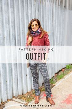 Pattern mixing fall outfit idea for women. Winter Fashion Casual, Fall Fashion Trends, Winter Fashion Outfits, New Outfits, Autumn Winter Fashion, Fall Outfits, Pattern Mixing Outfits, Velour Tops, Fashion For Women Over 40