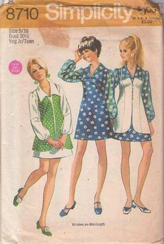 MOMSPatterns Vintage Sewing Patterns - Simplicity 8710 Vintage 70's Sewing Pattern SO MARCIA BRADY Mod Twiggy Large Flat Wing Collar Sheer Sleeve Mini Dress, Long Princess Seams Vest Coat Size 9/10