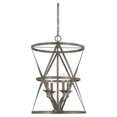 Showcasing an openwork metal frame and antique nickel finish, this stunning pendant light casts a warm glow in your foyer or dining room.