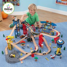Our Super Highway Wooden Train Set puts a whole busy city at your child's fingertips. It's so much fun pushing the vehicles up and down the track and discovering all the fun details this detailed set