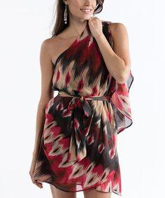 Look at this #zulilyfind! Red & Black Geo Asymmetrical Dress #zulilyfinds…with leggings at my age
