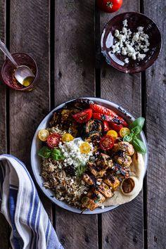 Greek Chicken Souvlaki and Rice Pilaf Plates w-Marinated Veggies + Feta Tzatziki | halfbakedharvest.com @hbharvest