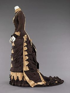 Wedding Dress.  Date: 1879. Culture: American. Medium: silk. Dimensions: Length at CB: 80 in. (203.2 cm).