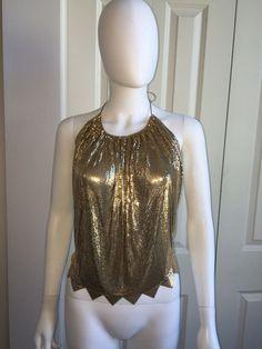 VINTAGE 70s 80s WHITING & DAVIS GOLD METAL MESH DISCO CLUB HALTER TOP M *AMAZING  | eBay
