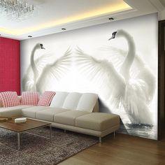 Pas cher Romantique blanc cygnes Photo papier peint grand Animal fonds d'écran de soie mur Art Mural salon canapé fond 3D grandes murales, Acheter  Fonds d'écran de qualité directement des fournisseurs de Chine:         Peut être personnalisé à votre taille demandée                    Dans la manière suivante:           &nb