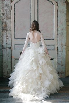 Ruffled gown with long sleeves and an open back   Sareh Nouri