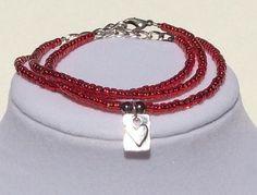 Red Beaded Silver Pewter Heart Stackable door CreationsByLacieK