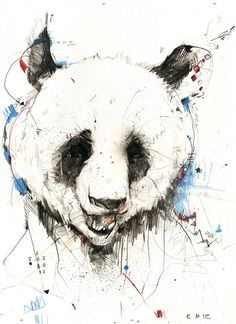 Russ Mills- A lot of negative space has been used with doodles and patterned type shapes in the background. The panda bear still looks very realistic within the expressive illustration style. Panda Illustration, Urso Bear, Panda Drawing, Panda Images, Panda Love, Panda Panda, Panda Bears, Grafik Design, Art Images